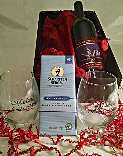Madsen Family Cellars Cabernet Sauvignon Scharffen Berger Chocolate Gift Set with 2 Wine Glasses, 1 x 750 mL