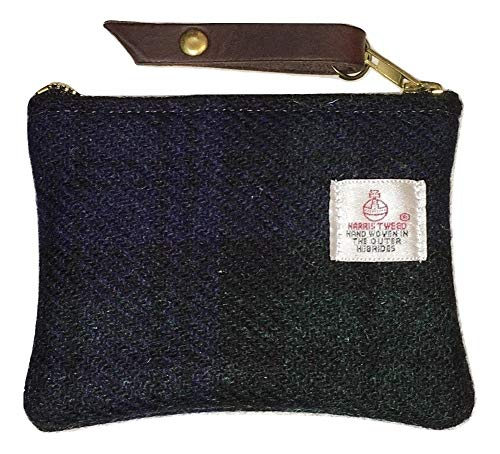 Coin Purse, Gadget Purse, Pouch, Wallet in Black Watch Black and Green Harris Tweed