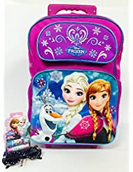 Frozen Let It Go Snowflakes Elsa Anna Olaf Large 16 Rolling Backpack Combo Set