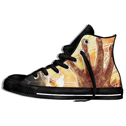 Classiche Sneakers Alte Scarpe Di Tela Antiscivolo Fuoco Basket Casual Da Passeggio Per Uomo Donna Nero