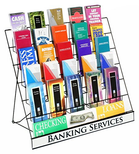Displays2go Wire Display Rack for Brochures and Pamphlets, 6 Tiers with Sign Header, Black Metal - Pamphlet Rack