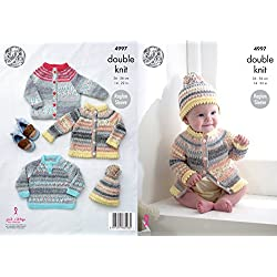 King Cole Baby Double Knitting Pattern Raglan Sleeve Cardigans Sweater & Hat (4997)