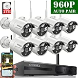 HD 1080P 8-Channel OOSSXX Wireless Security Camera System,8Pcs 960P(1.3 Megapixel) Wireless Indoor/Outdoor IR Bullet IP Cameras,P2P,App, HDMI Cord &2TB HDD Pre-Install