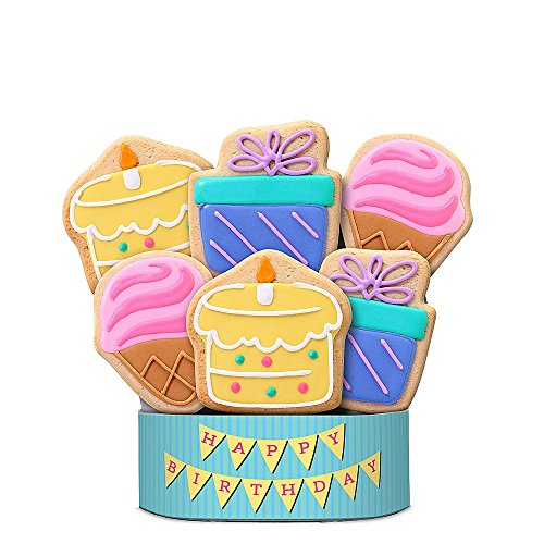 Shari's Berries - Birthday Celebration 6 Piece Cookie Bouquet - 6 Count - Gourmet Baked Good Gifts