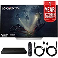 LG OLED55C7P - 55 C7P OLED 4K HDR Smart TV (2017 Model) w/ Blu-ray Player Bundle Includes, LG (UP970) 4K Ultra-HD Blu-ray Player w/ Multi HDR, 1 Year Extended Warranty & 2x 6ft. HDMI Cable