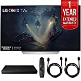 LG OLED55C7P - 55'' C7P OLED 4K HDR Smart TV (2017 Model) w/ Blu-ray Player Bundle Includes, LG (UP970) 4K Ultra-HD Blu-ray Player w/ Multi HDR, 1 Year Extended Warranty & 2x 6ft. HDMI Cable