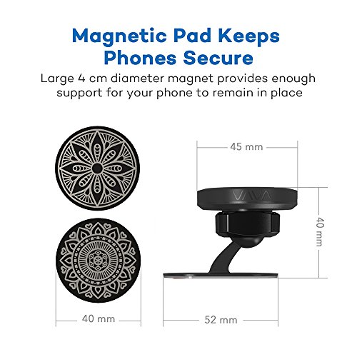 VAVA Magnetic Phone Holder for Car, Universal Stick On Dashboard Magnetic Car Phone Mount (360° Adjustable Holder with 3M Adhesive Covering and Two Metal Plates; Quick and Easy Installation) by VAVA (Image #4)