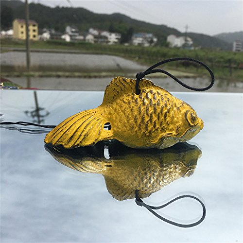 Japanese Wind Bell (Waltz&F Japanese Cast Iron Wind Chime Temple Pendant Goldfish Design Yellow)