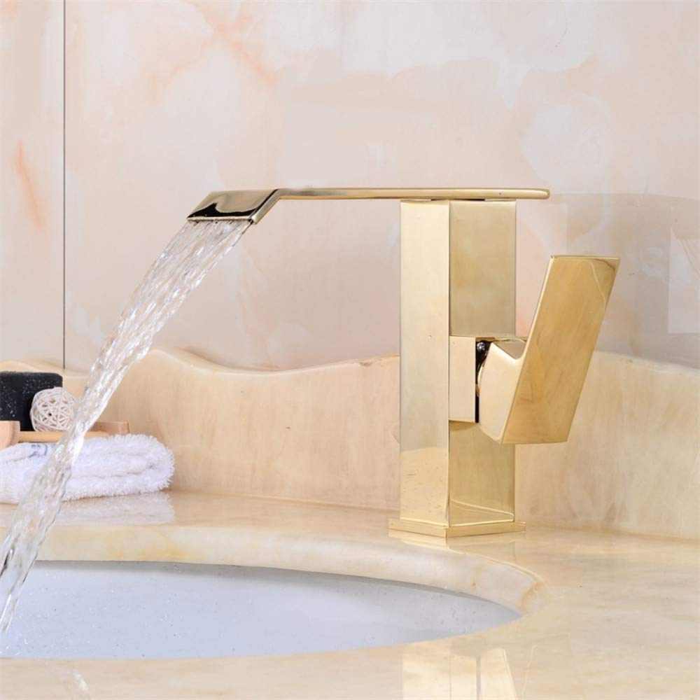 Bathroom Sink Tap Waterfall Bathroom golden Faucet Single Handle Vanity Sink Mixer Tap Deck Mount