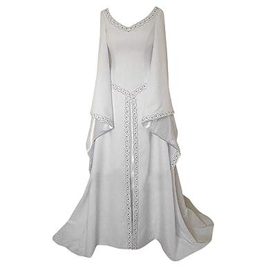 K-Youth® Carnaval Vintage Vestido de Traje Renacentista Medieval Vestido Largo de Estilo Victoriano Largo Gotico Vestido de Princesa Mujer Disfraz ...
