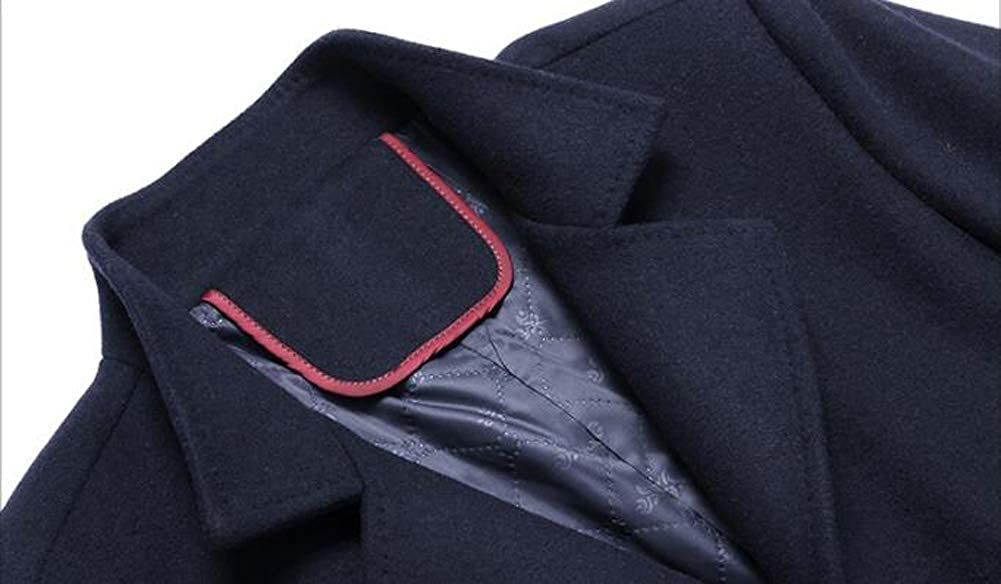 Moxishop Men's Winter Slim Fit Wool Coat Single Breasted Trench Jacket Warm Short Woolen Coat Business Jacket Detachable Soft Touch Wool Scarf Gray