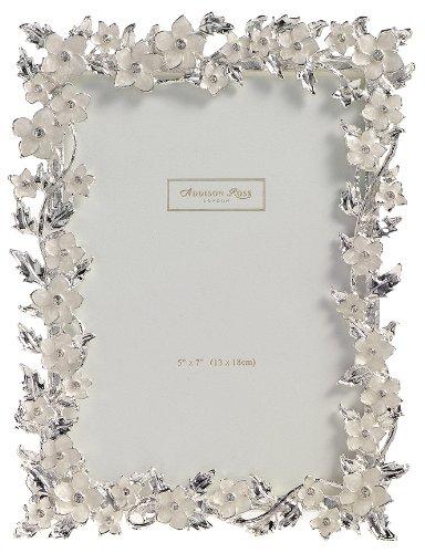 Addison Ross Silver Leaf & Cream Flower Enamel Frame 5x7