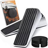 4 Pack ProfluxZone Professional Door Stopper SET. (2pcs) stainless steel Premium Door Stops with quality protective rubber. Gift 2 pcs of Finger Pinch Guard. Heavy Duty Door Stop for all floor surface