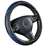 NEW ARRIVAL-CAR PASS Luxurious Leather and Velour Universal Steering Wheel Cover, Perfect fit for trucks,Suvs,Vans,Sedans(Black And Blue)