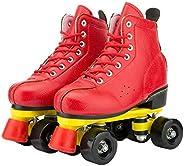 BWOLF Roller Skates for Men Women Boy Girl, Quad Leather High-top Roller Skate for Adult Teens Youth, Outdoor
