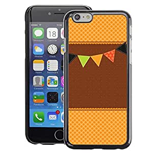 A-type Arte & diseño plástico duro Fundas Cover Cubre Hard Case Cover para iPhone 6 (Brown Beige Event Happy Waffle)