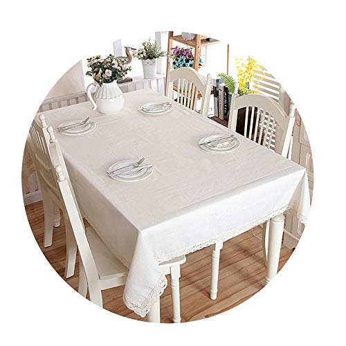 COOCOl Great Linen Cotton Thicken Tablecloth White Lace Dinner Washable Wedding Banquet Coffee Table Cloth,Black Striped,140Cm X 180Cm -