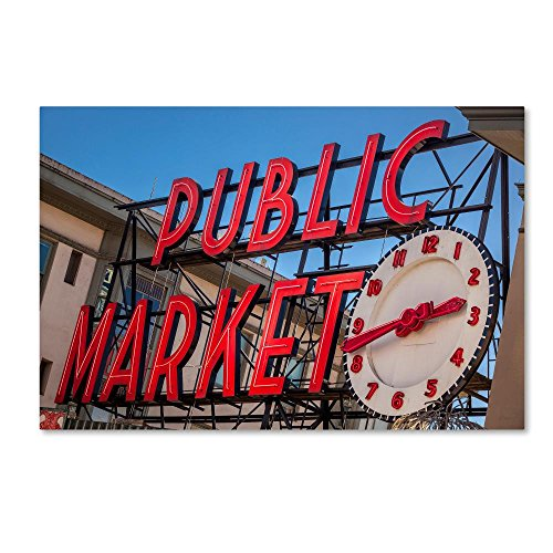 Pike Place Market Sign (Public Markets Neon by Yale Gurney, 30x47-Inch Canvas Wall Art)