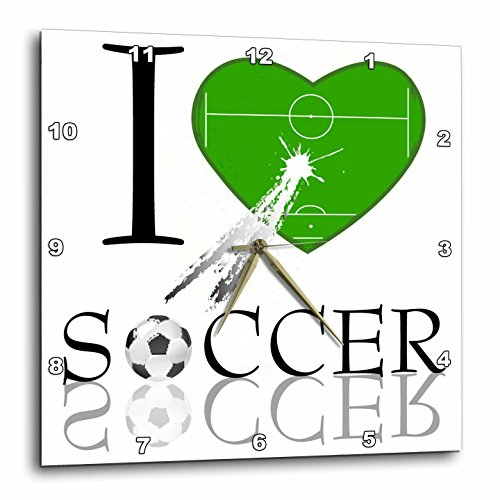 3dRose dpp_101403_1 I Love Soccer in Green-Wall Clock, 10 by 10-Inch by 3dRose