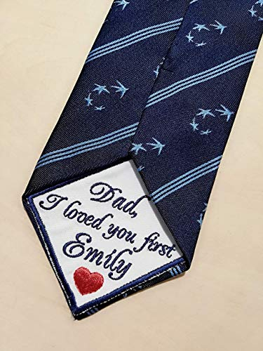 Father of the Bride Tie Patch Wedding Tie Patch Dad Embroidered Custom Label Personalized llemio (Label Necktie)