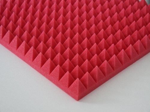 Akustikschaumstoff Pyramiden 1 x ca. 49x49x5cm, Rot Schaumstoff, Noppenschaum