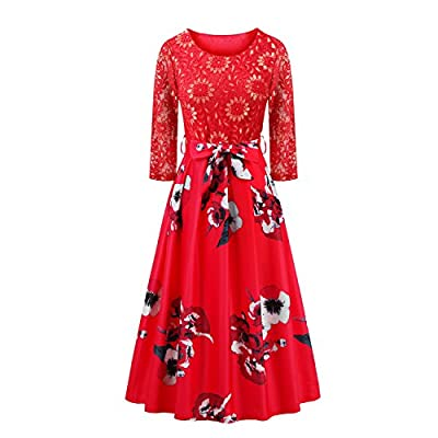 Women's Vintage 1950s 3/4 Sleeve Lace Floral Printed Cocktail Evening Dress