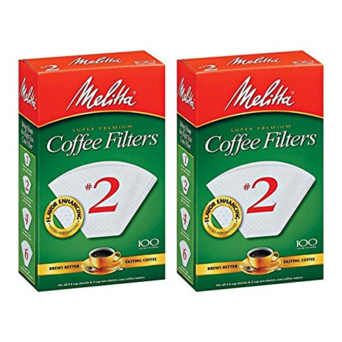 Paper Melitta (Melitta No. 2 Cone White Paper Filter, 100 Count (Pack of 2))