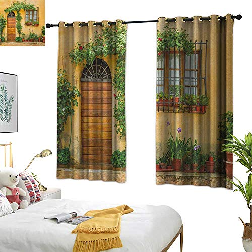 Warm Family Teal Curtains Italy,Porch with Different Flowers