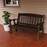 Amish Heavy Duty 800 Lb Mission Pressure Treated Garden Bench (5 Foot, Dark Walnut Stain)