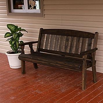 Amish Heavy Duty 800 Lb Mission Pressure Treated Garden Bench (5 Foot, Dark  Walnut