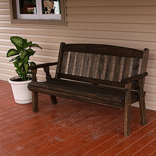 Cafe Amish Heavy Duty 800 Lb Mission Pressure Treated Garden Bench (5 Foot, Dark Walnut Stain) - Amish Bench