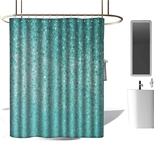 Quality Fabric Shower Curtain Turquoise,Small Dot Mosaic Tiles Shape Simple Classical Creative Artful Design, Teal Turquoise Seafoam,Anti-Bacterial,Mildew Resisant Bathroom Curtain 47
