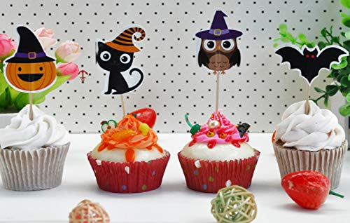 Sinrier Halloween Cake Cupcake Toppers for Kids Baby Shower Birthday Party Cake Decoration Supplies,Pack of 40