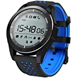 "TODO Bluetooth V4.0 Smart Watch Heart Rate Blood Oxygen Ip68 1.1"" LCD - Black Blue"