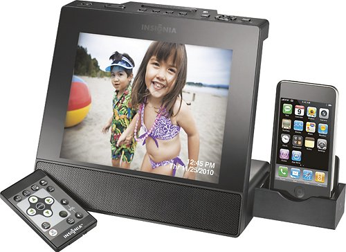 "UPC 600603130304, Insignia 8"" Digital Photo Frame with Apple iPod Dock - Black"