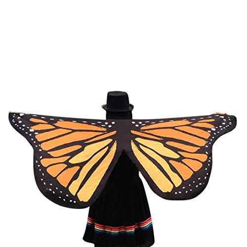 Lonsbo Butterfly Wings Fairy Soft Polyester Fabric Ladies Shawl Nymph Pixie Costume (Yellow) (Pink Butterfly Adult Wings)