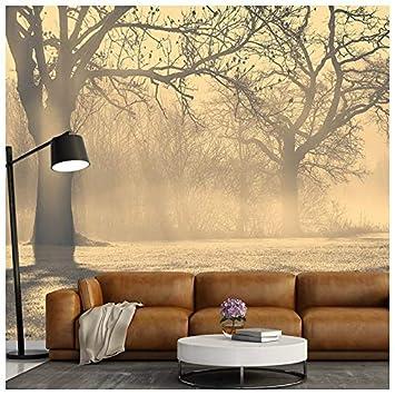 Azutura Nebelhafte Baume Fototapete Waldlandschaft Tapete Wohnzimmer