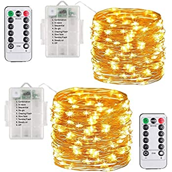 Fairy Lights, Unity-Link 2 Pack Warm White Fairy String Lights, Battery  Operated Waterproof 8 Modes 100 LED 33ft String Lights Copper Wire Firefly