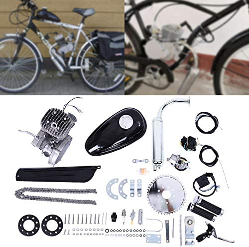 Gosuguu 80cc Bicycle Engine Kit, New Convert Bicycle 2 Stroke 80cc Petrol Gas Motorized Engine Motor Parts Silver, BEK-0g63