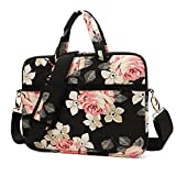 KAYOND Rose Patten Canvas Laptop Shoulder Messenger Bag Case Sleeve for 13.3 Inch Laptop and Macbook Air Pro 13