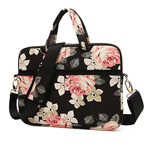 kayond Black Rose Canvas Fabric 15.6 inch Shoulder Bag