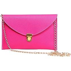 HDE Women's Envelope Clutch Purse Handbag (Hot Pink)