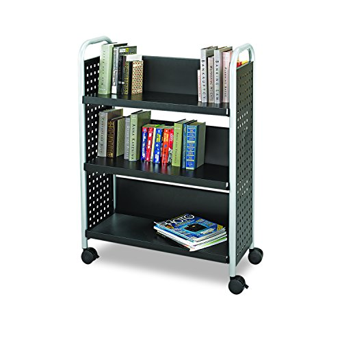 Safco Products Scoot Single-Sided Book Cart 5336BL Black, Swivel Wheels, 3 Slanted Shelves