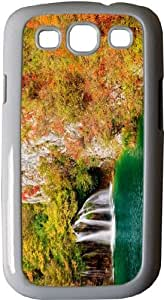 Rikki KnightTM Autumn Waterfall in Park - White Hard Rubber TPU Case Cover for Samsung? Galaxy i9300 Galaxy S3