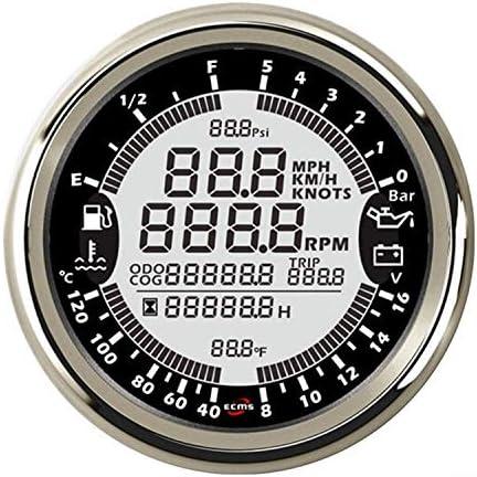 WY-WY 車のトラックのボートのための電圧計5bar 12V 85ミリメートル業6in1多機能ゲージGPSスピードメータータコメーターアワー水温燃料レベル油圧