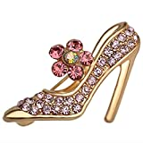 Crystal High Heels Shoes Brooch Pins Jewelry Gift for Women Men,High Heel Sweater Pin Pink