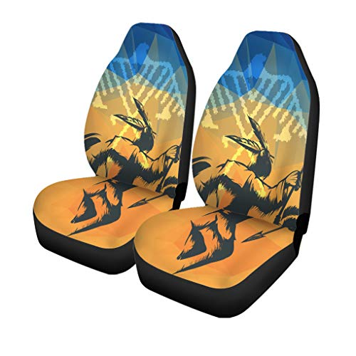 Semtomn Set of 2 Car Seat Covers Native American in War Dance Ritual Against Indian Eagle Universal Auto Front Seats Protector Fits for Car,SUV Sedan,Truck
