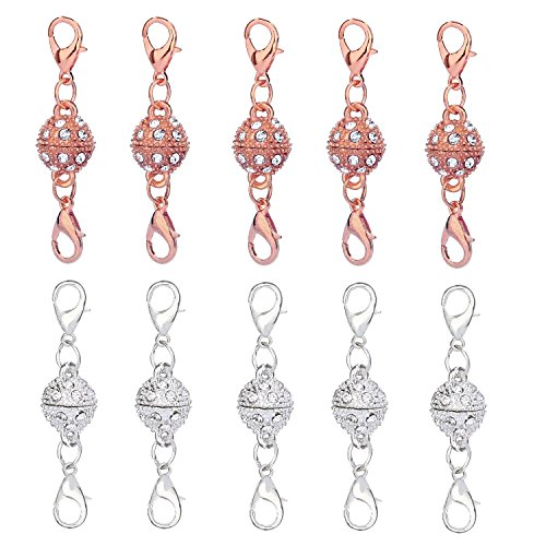 Aiskaer 10 Pcs Silver Color and Champagne Gold Color Rhinestone Ball Style Magnetic Lobster Clasps for Jewelry Necklace - Gold Champagne Colour