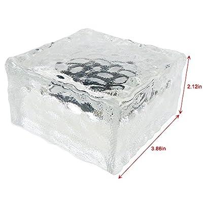 iGlow 6 Pcs Large Solar Ice Rock Light 4 LED Bright White Crystal Glass Landscape Path Post Cap Deck Garden Decoration