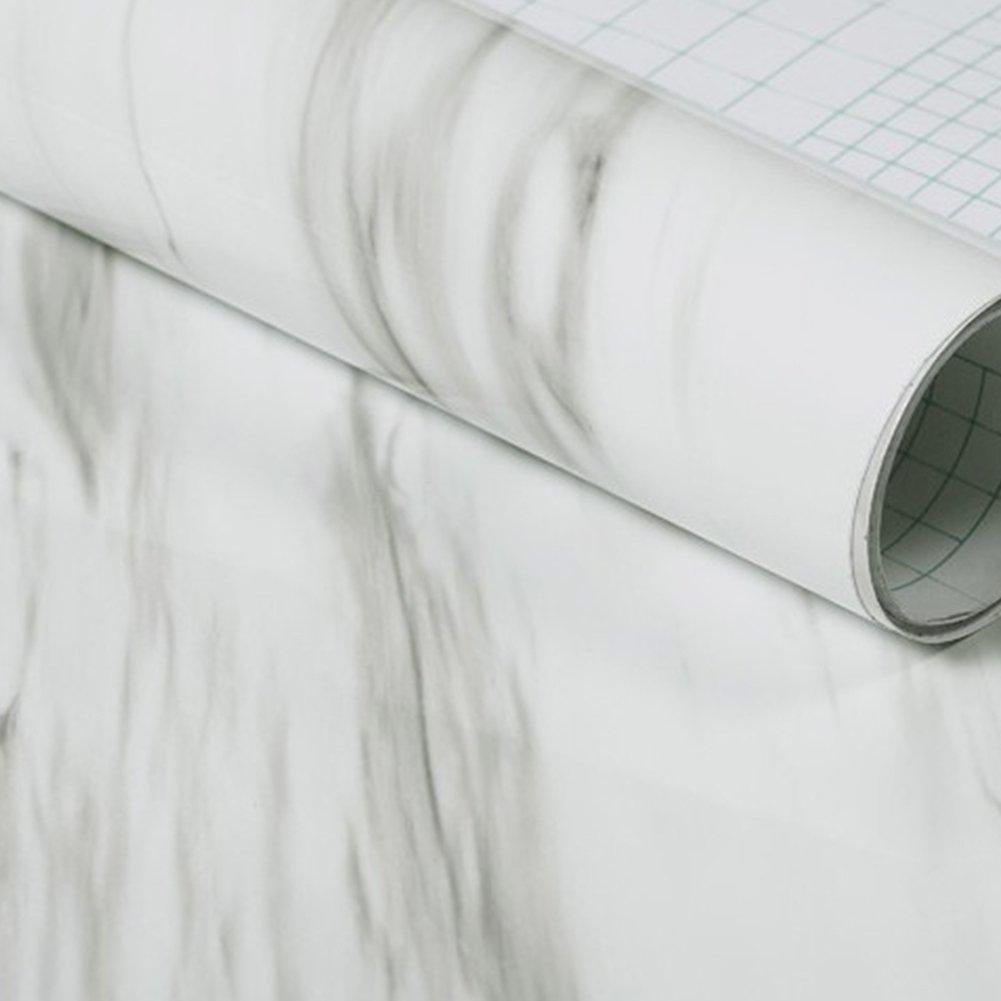 Hauptdekoration-Wand-Aufkleber, Granit-Marmoreffekt-Kontakt-Tapete selbstklebendes Peel Stick-Rollenpapier 24 X 19.7inch (Weiß ) Woopower